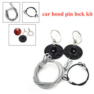 Universal Racing Car Round Bonnet Cable Hood Pin Black  Lock Kit Carbon Fiber