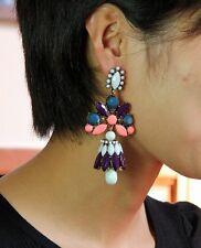 earrings Clips Long Big Drop Brown Navy Blue Coral Vintage X4