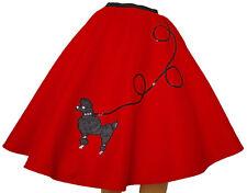 "Red FELT Poodle Skirt _ Adult Size LARGE _ Waist 35""- 42"" _ Length 25"""