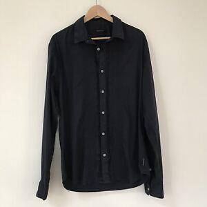 Calvin Klein Womens Shirt, Size XXL, Cotton Button Up Navy Blue