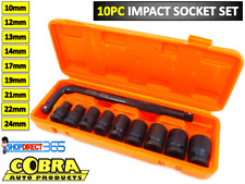 "10pc 1/2"" Inch Impact Socket Set + Wrench 10-24mm Metric Wrench In Box CRMO 4-40"