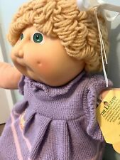 Vintage 1984 Cabbage Patch Kid Blonde Hair with Bow/Green Eyes/Purple Dress