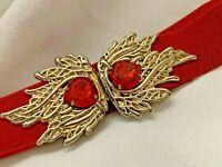 Stretch Vintage Gold BUCKLE RED STONES  Waist Band Elastic Waistband Belt *G*