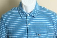 Vineyard Vines Men's blue and white striped short sleeve golf polo shirt Small S