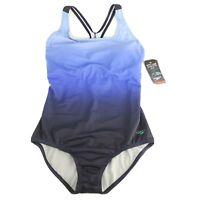 Speedo Women's Blue Ombre Ultraback One-Piece Swimsuit Swimwear Size 10 New