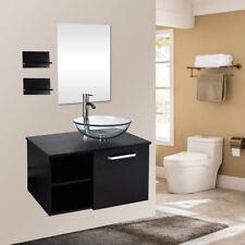 28'' Bathroom Vanity Floating Cabinet Wood Top Clear Glass Sink Bowl Mirror Set
