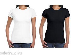 2 X Women's Plain T Shirt  Cotton Tees Ladies Vest Basic Shirt Size 8-22