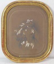 1866-RARO DISEGNO MATITA E BIACCA , RITRATTO  FANCIULLE-CORNICE DORATA-FIRMATO