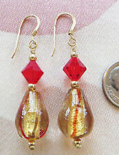 "MURANO LAMPWORK, SWAROVSKI bead, GOLD FILLED FINDINGS, earrings 1 3/8"" dangle"