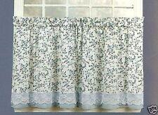 Vintage Blue Floral Kitchen Curtains Lace 24L Tier Set