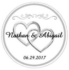 120 SILVER HEARTS WEDDING BRIDAL SHOWER TAGS LABELS STICKERS FOR YOUR FAVORS