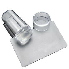 Nail Art Clear Jelly Silicone Stamper Scraper Cap Stamping Transfer Plate Tools
