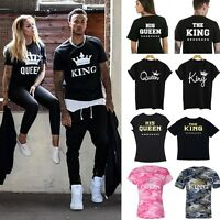Tops King and Queen Couple Design Tees Matching Love Funny Cute T-Shirts Unisex