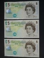 THREE SALMON UNCIRCULATED CONSECUTIVE ELIZABETH FRY £5 NOTES,  DUGGLEBY B407.