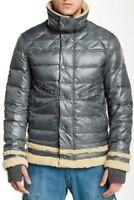 "Men`s JET LAG Down Filled Puffer Jacket Size XL 44"" Coat Silver Green"