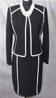 Kasper Sheath Dress & Jacket Suit Sz 2 Black & White S XS