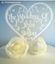 Personalised Wedding Cake Topper With Two Names and Date (White)