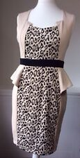 Little Mistress Body Con Ladies Dress Size 14 Beige Peplum Leopard Beige Womens