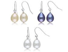 Conjunto de 3 Multicolor Perlas Cultivadas De Agua Dulce Pendientes de 9-10mm en Plata St.