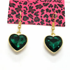 Betsey Johnson Fashion Heart Blue Shines AB Crystal Women Stand Earrings