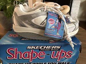 New Skechers Shape Ups Size 9 Silver White Fitness Junkie #11814 DEADSTOCK NIB
