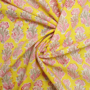 Hand Block Print Yellow Floral 100%Cotton Women Dress Material Craft Fabric