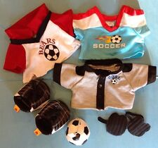 Build A Bear Soccer outfit 8 piece lot EUC cleats shirts ball shinguards goalie
