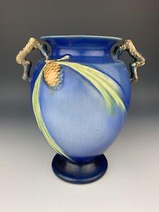 Vintage Roseville Art Pottery Blue Pinecone Handled Urn Vase 844-8
