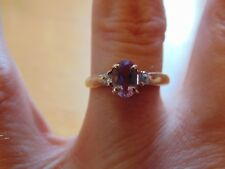Solid 9ct Gold Amethyst and Diamond Ring 2.4g GIFT BOX Size N Hallmarked