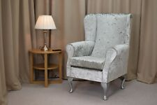Wing Back Fireside Armchair in Bling Silver Fabric with Silver Queen Anne Legs