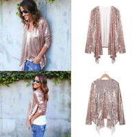Fashion Women Long Sleeve Solid Sequined Irregular Cardigan Tops Cover Up Blouse