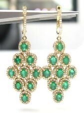 Fine NATURAL EMERALD OVAL CUT GEM DIAMOND CHANDELIER EARRINGS 14kt YELLOW GOLD