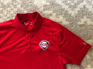 Under Armour Philadelphia Phillies Golf Polo Shirt Size S Red Pristine!