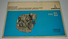 Ersatzteilliste Deutz Diesel Motor F3L 911 912 Spare Parts Catalogue 10/1970!