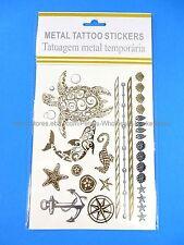 *US SELLER*nautical sailor wheel seahorse silver gold black temporary tattoos