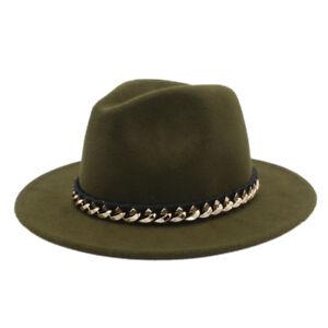 Women Men Wool Fedora Hat For Winter Autumn Wide Brim Jazz Church Sombrero Caps