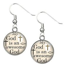 Earrings MY GOD IS AN AWESOME GOD Dangle Drop Christian Jewelry Religious