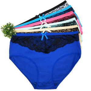 Womens Underwear Ladies Knickers High Waisted Cotton Sexy Lace Panties 6/12 Pack