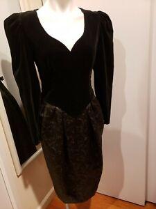 STUNNING! GUY LAROCHE Velvet Chamberlain Top, Jacquard Bottom Evening Dress 42