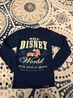 Walt Disney World Parks Tshirt Sz Small Blue United States Of America L/S