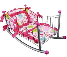Dolls Rocking Cradle Cot Bed With Pillow Bedding Kids Role Pretend Play Metal