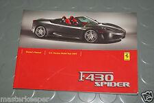 2005 Ferrari F430 F 430 Spider Owners Manual - USA BOOK / HANDBOOK
