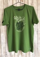 LIFE IS GOOD Sleigh Snow Dog Tee Shirt Women's Green Classic Fit L Large *
