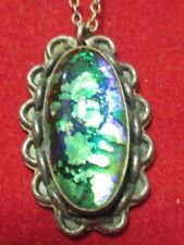 With A 17 Inch Chain Sterling Silver Art Glass Oval Pendant