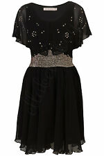 KATE MOSS TOPSHOP Black Silver Scatter Studded Cape Back Dip Hem NYE Dress 10 38