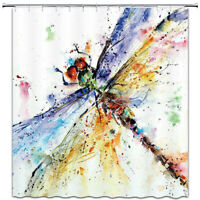 Watercolor Dragonfly Shower Curtain Polyester Fabric Bathroom Decor with Hooks