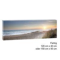Sonnenuntergang- Bild Strand Meer Keilrahmen Leinwand  PosterXXL 120cm*40cm 500