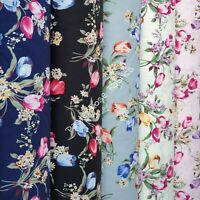 Floral Tulip Bouquet print 100% Cotton Fabric ~ quilting, craft, clothing