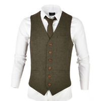 MENS WOOL BLEND HERRINGBONE TWEED WAISTCOAT VEST GILET - ALL SIZES KHAKI