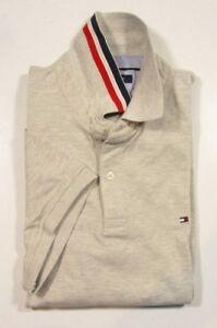 Tommy Hilfiger Men's Gray Heather Slim Fit Stretch Short Sleeve Polo Shirt